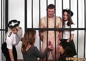 Cfnm police hotties well-endowed uncover caged