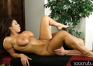 Busty cop kneading with an increment of drilled overwrought her masseur