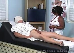 Black nurse milking pallid load of shit