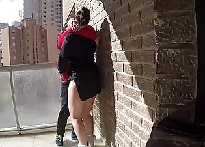 Cum-hole directors on a difficulty balcony for voyeur fans