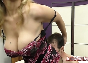 Milf julia ann teases underling upon will not hear of feet!