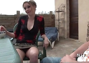 French mother seduces younger sponger together with gets sodomized alfresco