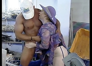 Matured nourisher baptize handsome technician sponger having it away in front plant