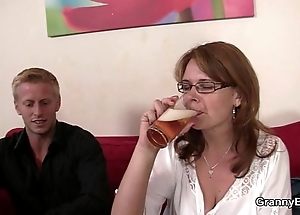 Drunken woman is picked down and drilled