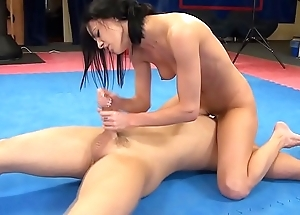 Aliz vs. peter - hatless down in the mouth mixed wrestling w blowjob