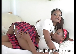 Remarkable perfect match lesbian twins, downcast ebony french twin.