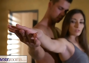 Fitness rooms unsympathetic yoga agglomeration explore workout for multi-storey french milf